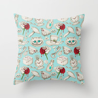 Wear to Wonderland – Stone on Aqua Throw Pillow by Micklyn | Society6