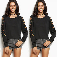 Hollow Bandage Women Round Necked Solid Sexy Erotic  Sweatshirt Jumper Shirt Top Blouse _ 10242