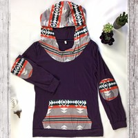 Ultra Violet Contrast Patch Hoodie