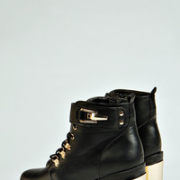 Astrid Lace Up Trim Plaque Heel Ankle Boot