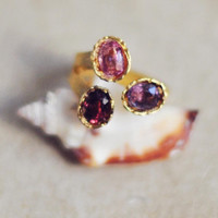 Adjustble cocktail ring purple cherry red and pink SPINELS   by YUNILIsmiles