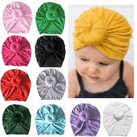 Infant Kids Newborn Baby Turban Knotted Head Wrap Headbands India Hats Beanie Cotton blend Hair Cap Children Girl Boy Head band