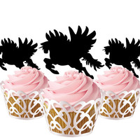 6 pcs in one set pegasus CupCake toppers for party decor, baby shower party cupcake toppers acrylic,  gift for birthday