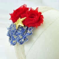 Headband patriotic 4th of July red and blue shabby flower