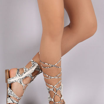 Breckelle Python Strappy Lace-Up Gladiator Flat Sandal
