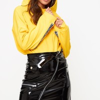 Black Vinyl Biker Mini Skirt