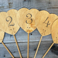 10 Rustic Heart Wedding Table Numbers with Arrows, Rustic Wedding Decor, Wedding Centerpiece, Wooden Hearts Table Numbers,Rustic Table Decor