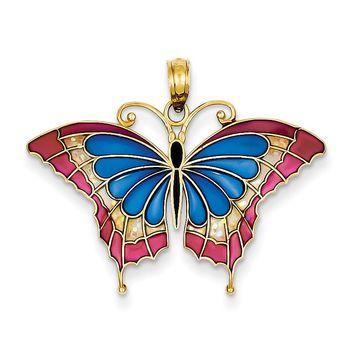 14K Blue Stained Glass Wings Butterfly Pendant with Acrylic K4230