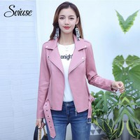 Pink Faux Leather Biker Jacket Women Autumn Winter Motorcycle Jacket Coats Female Casual Classic Streetwear PU Leather Outerwear