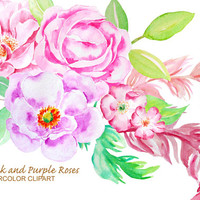 Watercolor clip art classic pink and purple roses instant download or wedding invitations, greeting cards