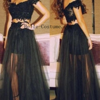 Two Piece Prom Dresses, Off shoulder Prom Dresses, Lace Top Prom Dress, Black Prom Dresses