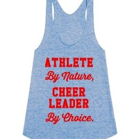 Athlete by Nature, Cheerleader by Choice-Unisex Athletic Blue Tank
