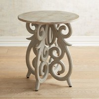 Scroll Gray Accent Table