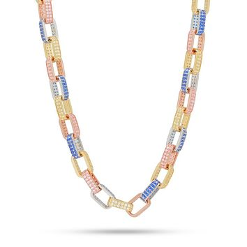 """Pave Gucci Link BOX Tri Color 16"""" Choker Necklace in 18K Gold Plated"""