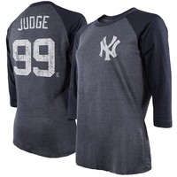 Aaron Judge New York Yankees Majestic Threads Women's 3/4 Sleeve Name & Number Raglan T-Shirt - Navy