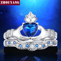Holding the Created Sapphire love Heart  AAA+ CZ Crown Wedding Ring Sets White gold Silver Plated Blue Crystal 2016 new  ZYR616