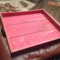 Large Rustic Distressed Red Ottamon Serving Tray