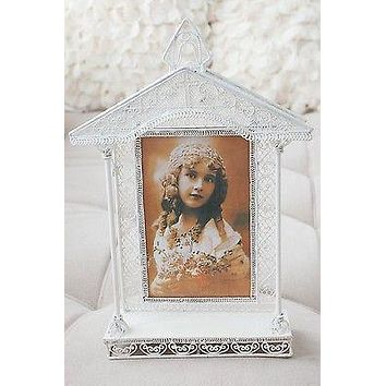 """White Vintage Church House Wedding Metal Picture Frame Photo Favors 10.75"""""""
