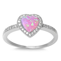 Sterling Silver Pink Created Opal Micro Pave Halo Heart Ring - Size 5