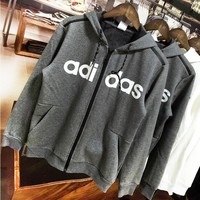 ADIDAS autumn and winter new print letter hooded zipper cardigan sweater Grey