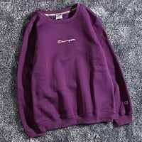 Champion Fashion new bust embroidery letter thick women and men leisure loose long sleeve sweater top Purple