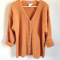 Vintage Cable Knit Cardigan -- Slouchy Oversized Cotton Sweater -- Pumpkin Orange -- Thick Warm Sweater -- V Neck Cardigan -- Womens Large