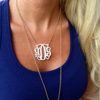 Spring Into Color Lace Acrylic Monogram Necklace – I Love Jewelry