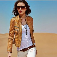Women Leather Slim Outerwear Jacket a13033