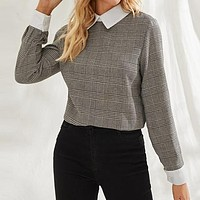 Grey Contrast Collar Plaid Print Elegant Blouse Women  Long Sleeve Office Ladies Buttoned Keyhole Back Blouses