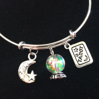 Crystal Ball Tarot Cards Moon and Stars Charm Fortune Tellers Silver Expandable Bracelet Adjustable Wire Bangle Stacking Handmade Trendy Gift Jewelry