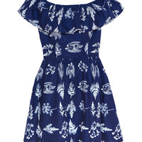Life Of Paradise Off The Shoulder Navy Dress