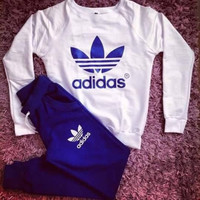 "Fashion ""Adidas"" Top Sweater Sweatshirt Pants Trousers Sweatpants Set Two-Piece Sportswear"