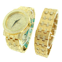 Gold Tone Mens Watch Joe Rodeo Jojo Jojino Look Iced Out Simulated CZ Stone