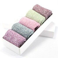 5 Pairs Vintage Women Wool Cashmere Thick Winter Warm Soft Solid Casual Female cute Sock