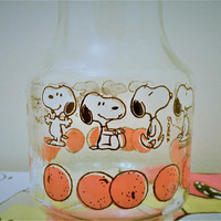 Anchor Hocking Snoopy Orange Juice Carafe, Snoopy Juice Pitcher,  Peanuts Juice Jug, Vintage Snoopy Juice Carafe , Snoopy Juice Jug