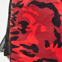 Missguided - red faux suede camo mini skirt
