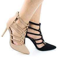 Vivian8 by Bonnibel, High Heel Laser Cut Out Caged Pointed Toe Pump