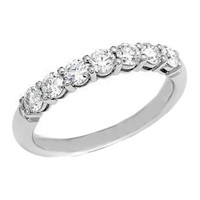 Wedding Band - Seven Stone Round Diamond Wedding Band 0.28 tcw. In 14K White Gold