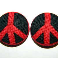 Button Earrings Red- Black Peace Sign