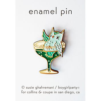 Cocktail Owl Pin - Funny Owl Enamel Pin by boygirlparty for Collins & Coupe