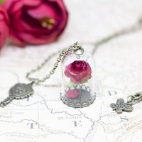Beauty and the Beast Enchanted Rose Flower Necklace Terrarium Glass Wish Bottle and Mirror Belle Pendant Necklace Women Gift