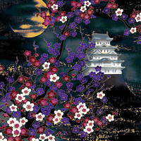 Castle in Moonlit Night: Black Asian Japanese Fabric (Panel 24 Inches x 22 Inches)