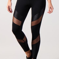 Equilibrium ActiveWear - Legging 7015 Ava Black with Black Mesh