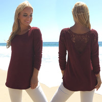 Backed By Lace Sweater Top In Burgundy