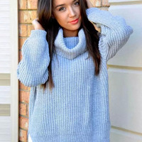 Sky Blue Turtle-Neck Asymmetrical Knitted Sweater