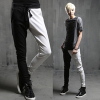 2014 New fashion Athletic Sport harem Trousers slim personality black and white patchwork mens skinny sweatpants Casual pants