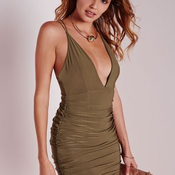 SLINKY DOUBLE STRAP RUCHE BODYCON DRESS KHAKI