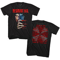 Resident Evil Release Dates Front and Back Adult Black Tall Tee