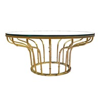 Pre-owned Mid-Century Gold Bamboo & Glass Coffee Table