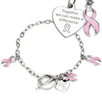 Spikes Steel Pink Ribbon Cancer Awareness Ladies Charm Chain Bracelet | Body Candy Body Jewelry